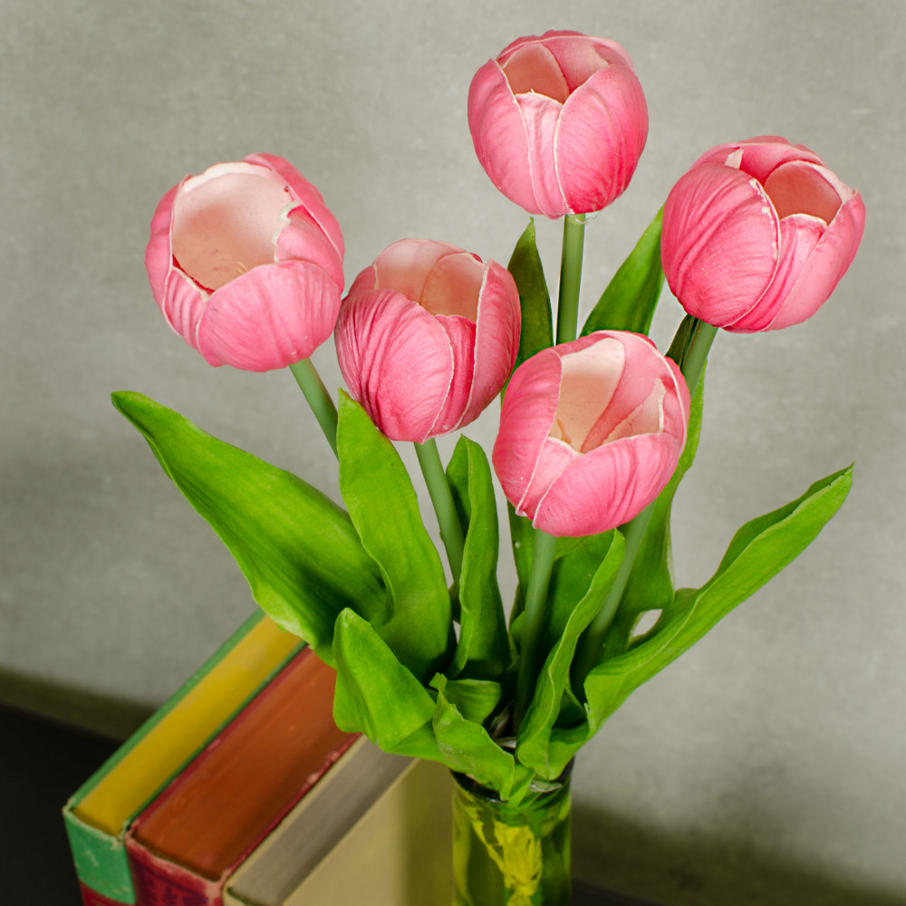 """13"""" Realistic Touch Tulip Bouquet: Hot Pink (5) [2260018HP ..."""
