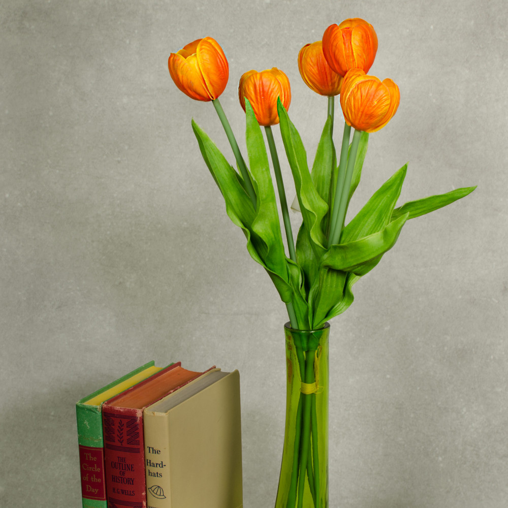 "13"" Realistic Touch Tulip Bouquet: Orange (5) [2260018OR ..."