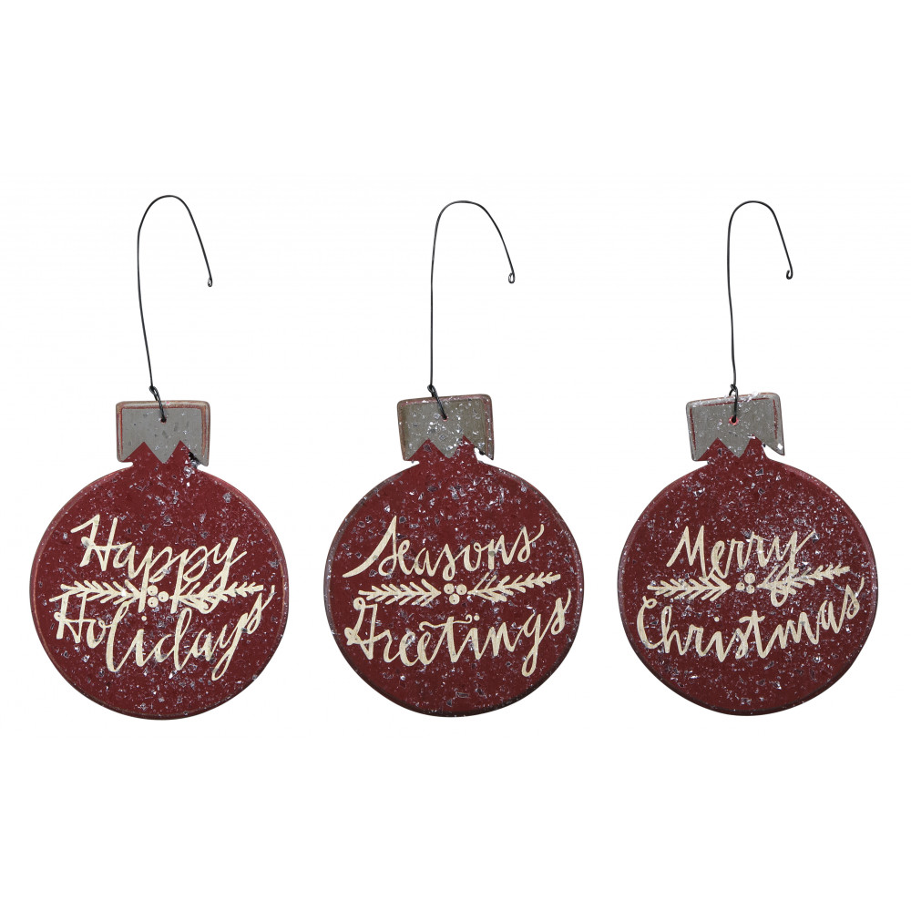 set of three red ball christmas ornament signs - Wooden Christmas Decorations