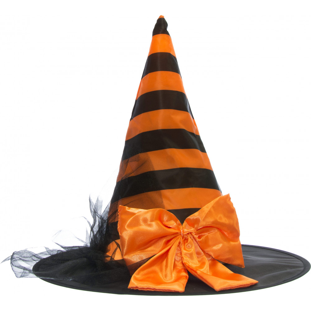 Striped Satin Witch Hat With Bow  Orange   Black  25286ACAO ... d8bdfb23ee6