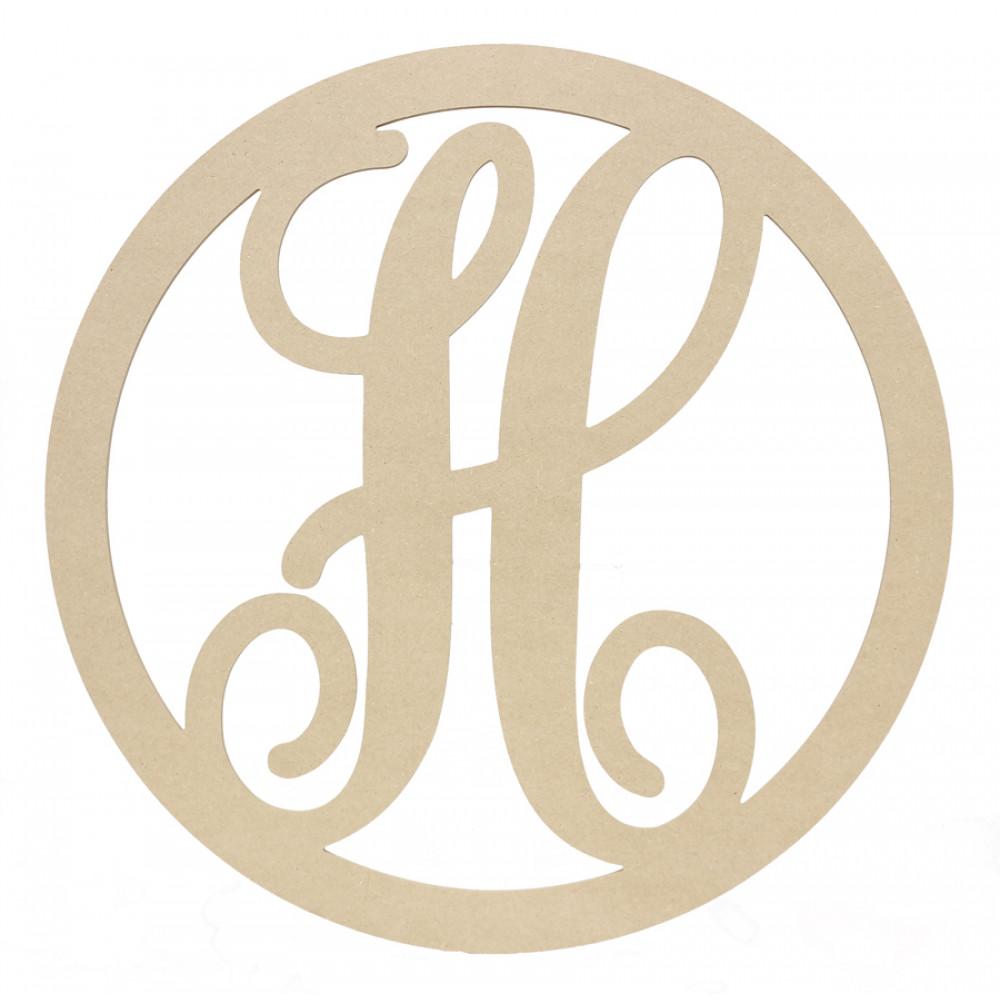 23 script circle monogram wooden letter h ab2241 craftoutlet com