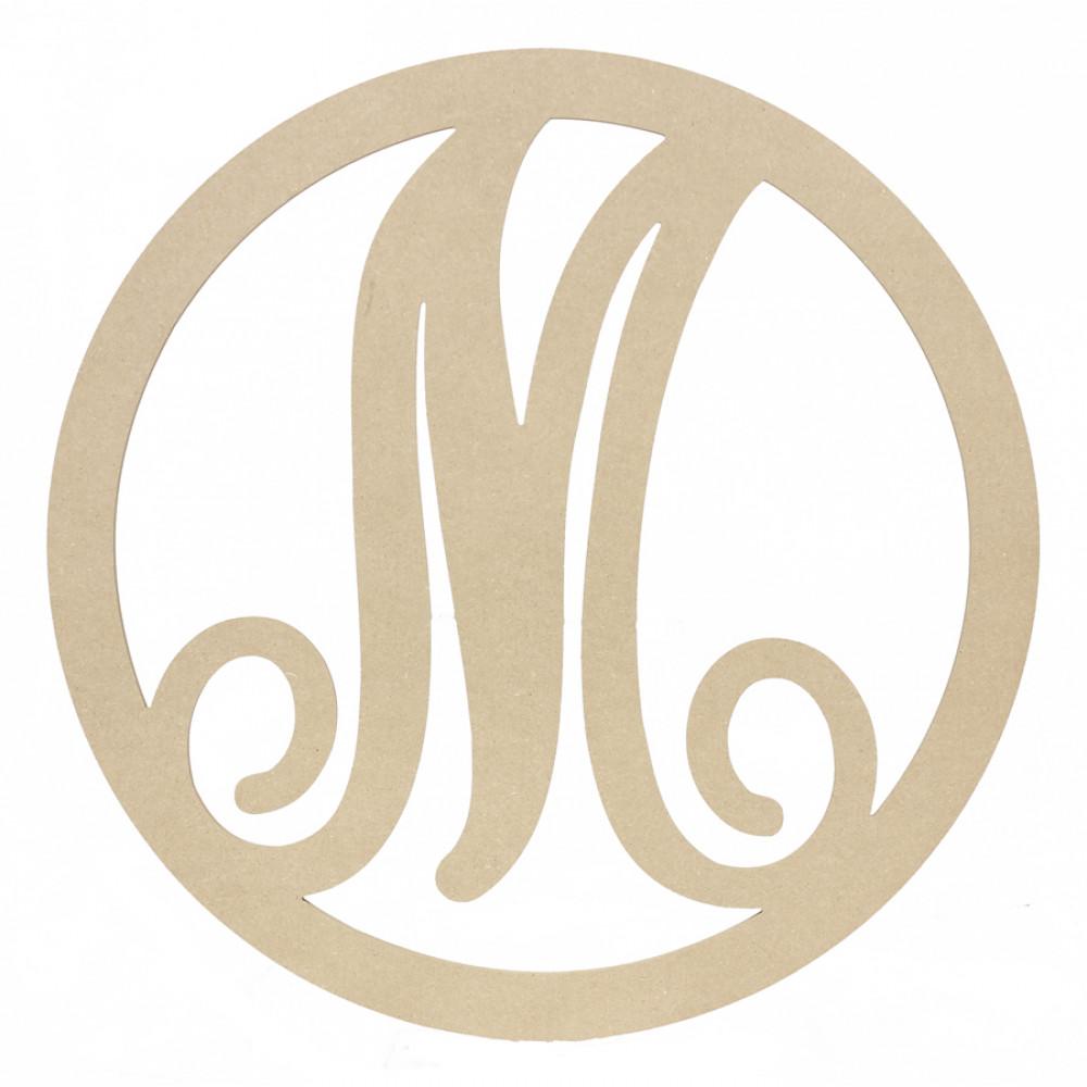 23 script circle monogram wooden letter m