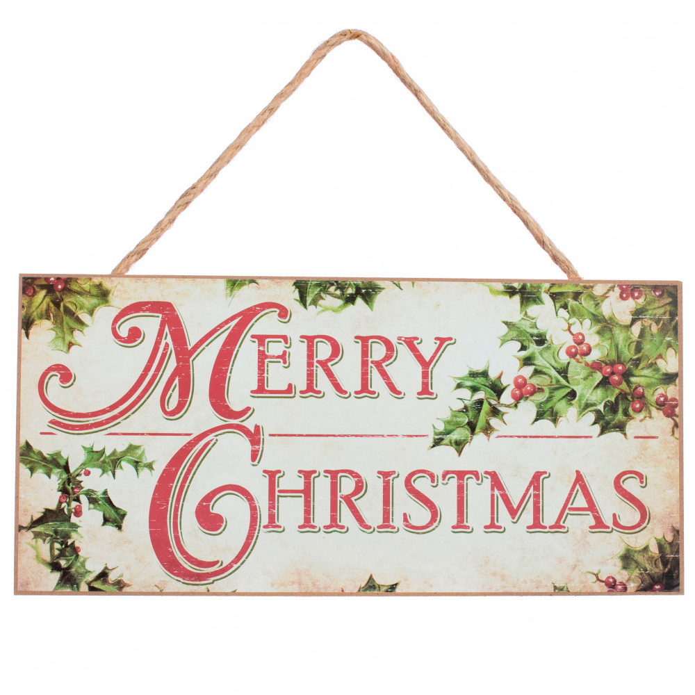 """12"""" Wooden Sign: Merry Christmas With Holly [AP8274"""