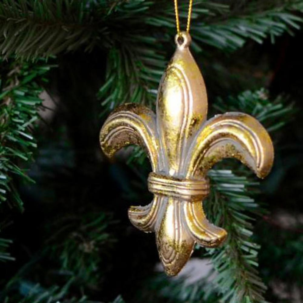 4 25 Quot Gold Leaf Fleur De Lis Ornament Xy622837