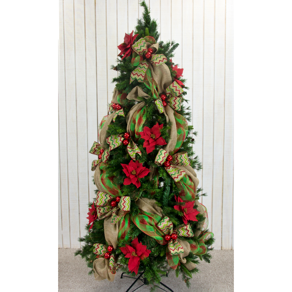 """Burlap And Red Christmas Tree: 27"""" Red Burlap Poinsettia Floral Pick [FBE0790-11"""