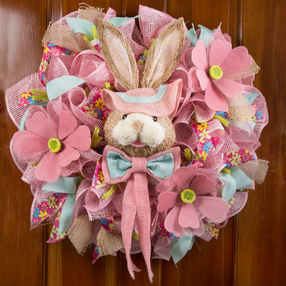 24 Sisal Bunny Head Pink With Blue Floral Print Co17 101