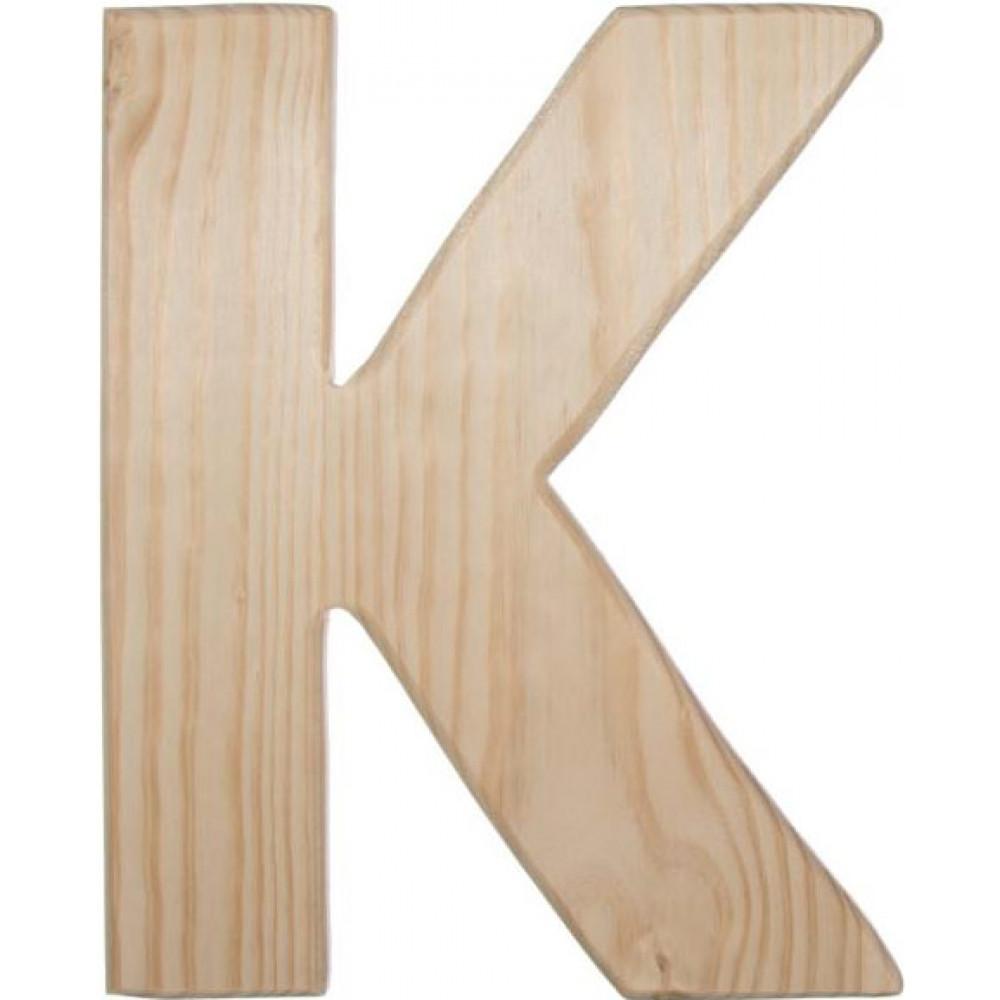 12 natural wood letter k