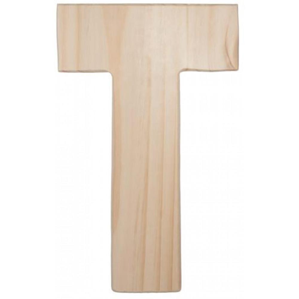 12 natural wood letter t
