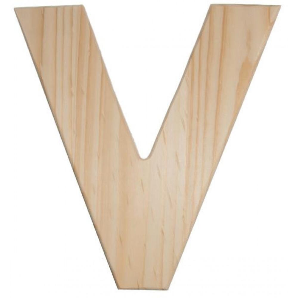 12 natural wood letter v