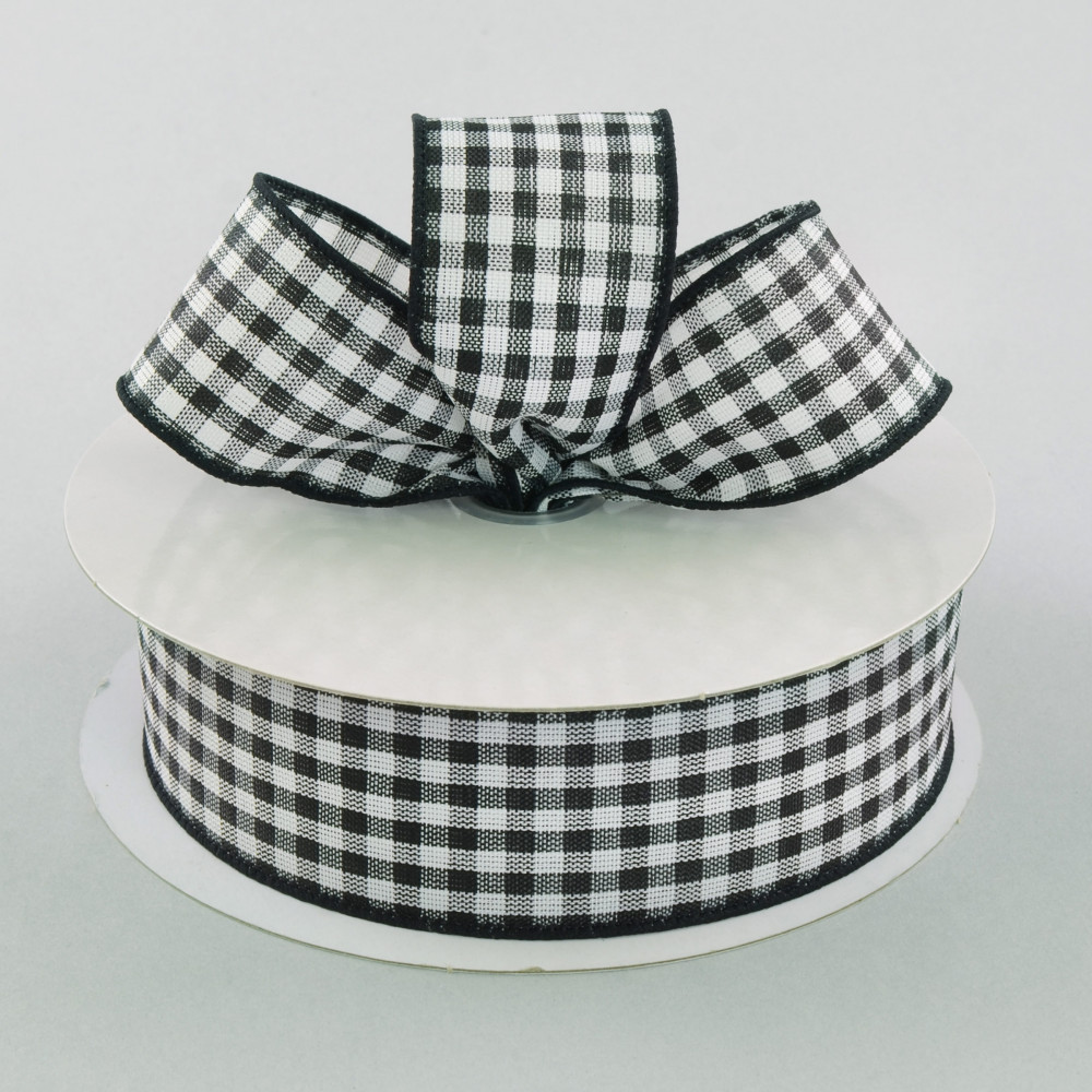 15 Wired Gingham Ribbon Black White 25 Yards 212 9 31