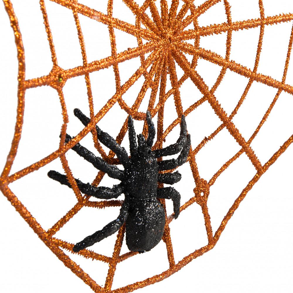 """Spider Web Halloween Decorations: 10.5"""" Glittered Spider Web & Spider: Orange [HH1165"""