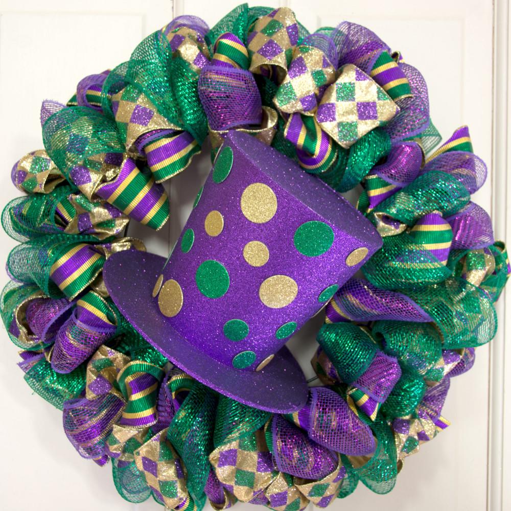 8 Quot Glitter Dot Mardi Gras Top Hat Hg102830 Craftoutlet Com