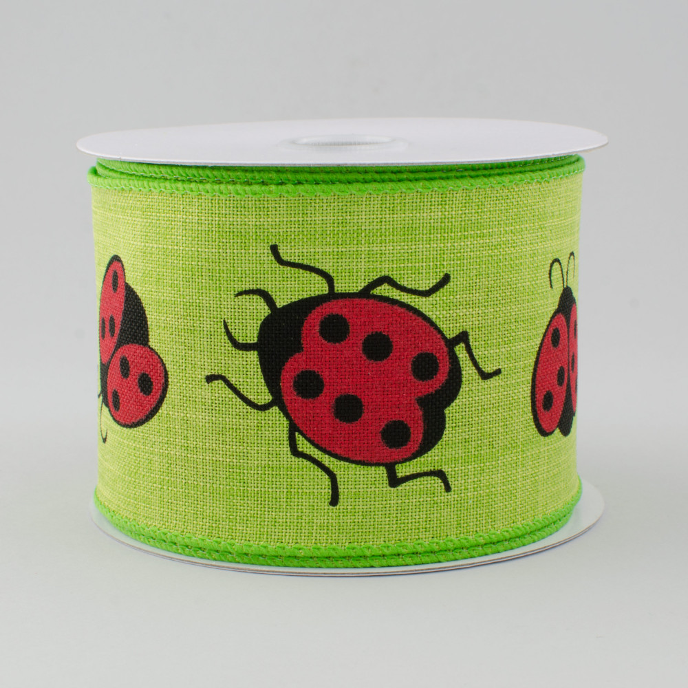 "Wired Ribbon 10 Yards 2.5/"" Ladybug on Royal Ribbon"