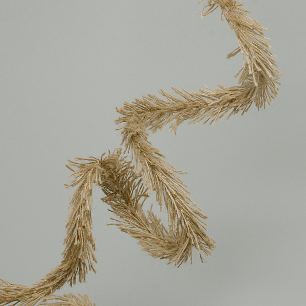 Fuzzy Burlap Jute Wired Garland Natural 30 Mg102418