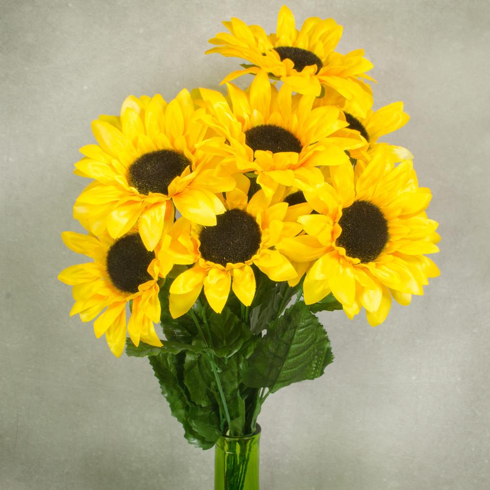 "21"" Sunflower Bush (9): Yellow 30450YW - CraftOutlet.com"