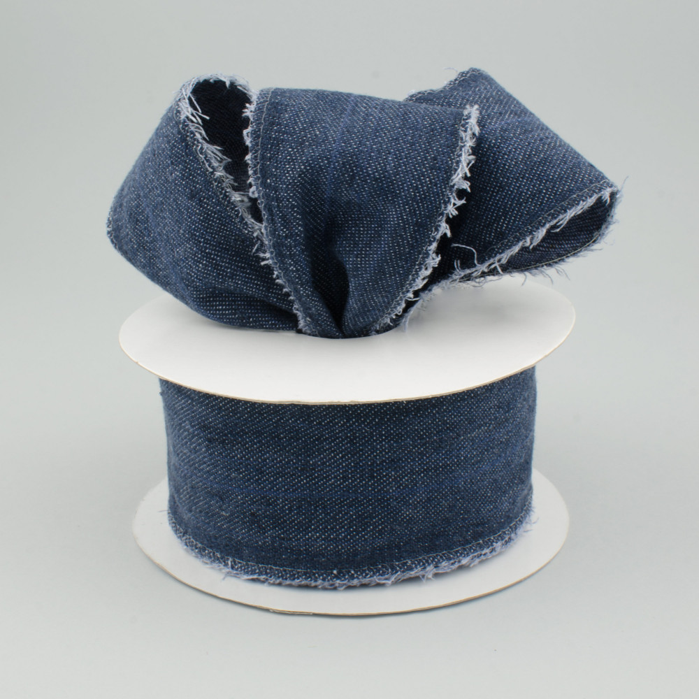 2 5 Quot Navy Blue Denim Ribbon With Fringed Edge Wired 10