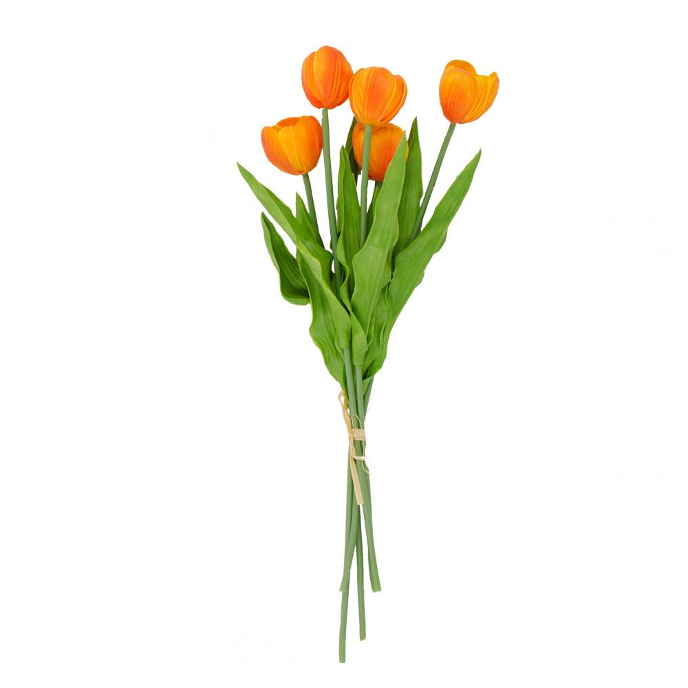 "13"" Realistic Touch Tulip Bouquet: Orange (5) [2260018OR ..."