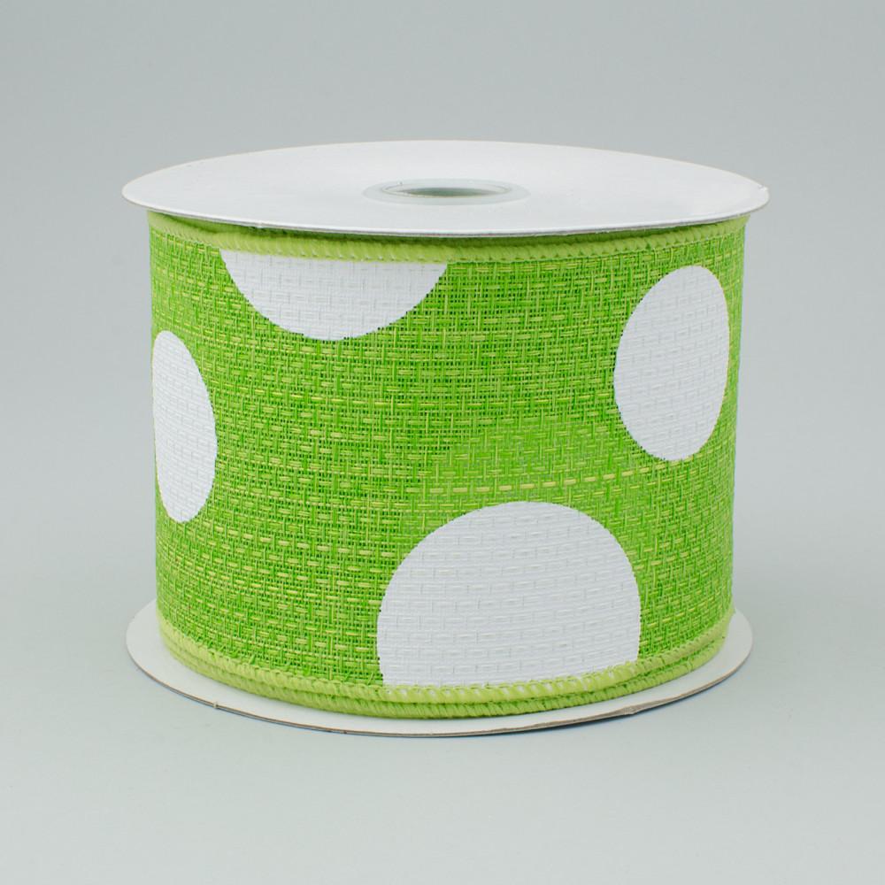 2 5 faux burlap giant polka dot ribbon lime green for Green burlap ribbon