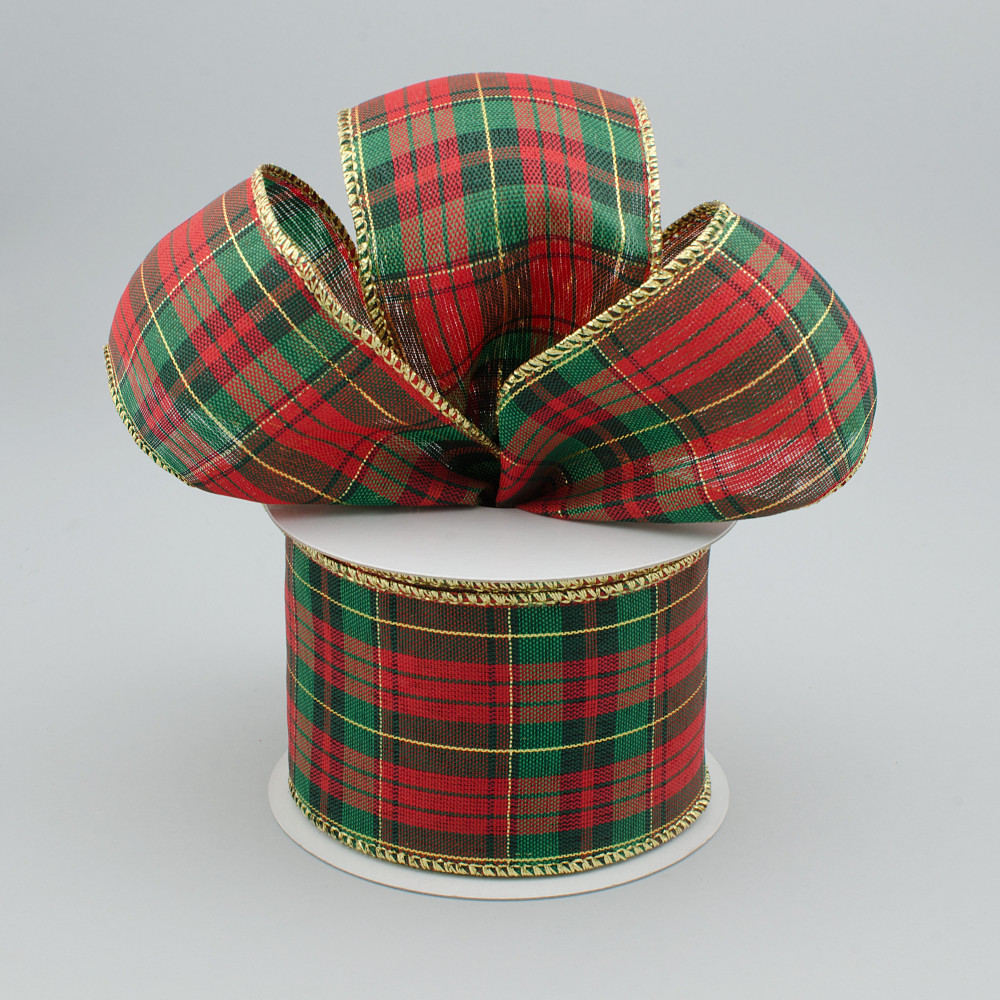 25 holiday metallic plaid ribbon red emerald green black gold 10 yards