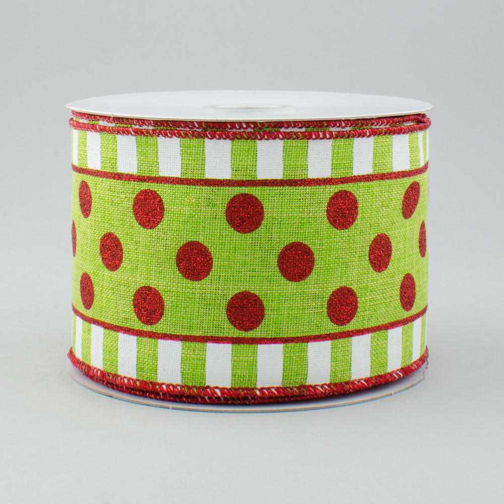 2 5 Quot Dots Amp Stripes Glitter Ribbon Lime Green White