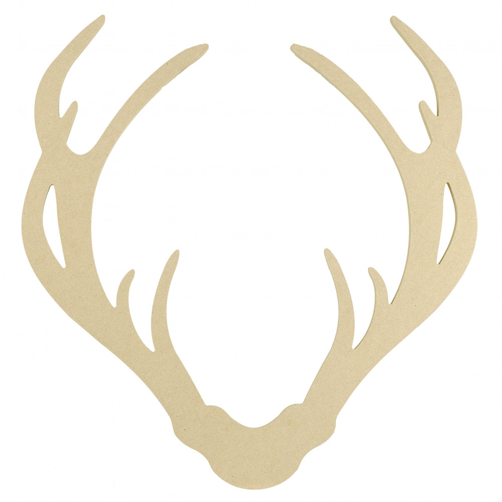 "15"" Decorative Wooden Deer Antler Silhouette: Natural ..."
