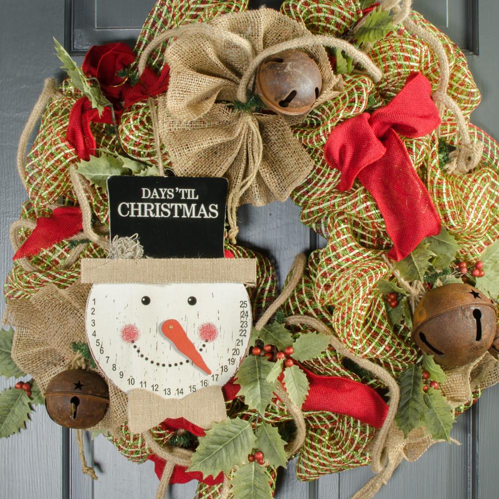 Snowman face ornament - 8 Snowman Face Christmas Countdown Hanger