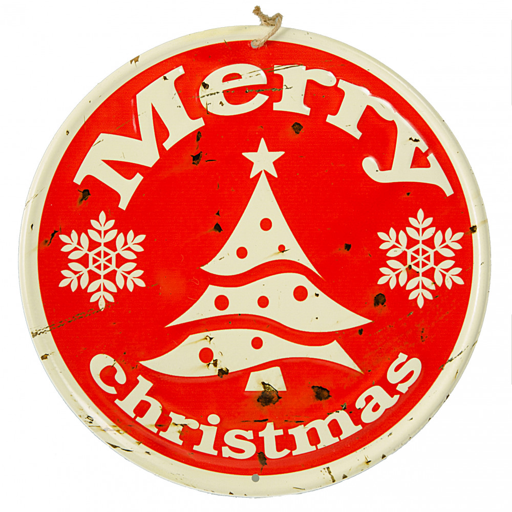Quot retro round metal sign red merry christmas
