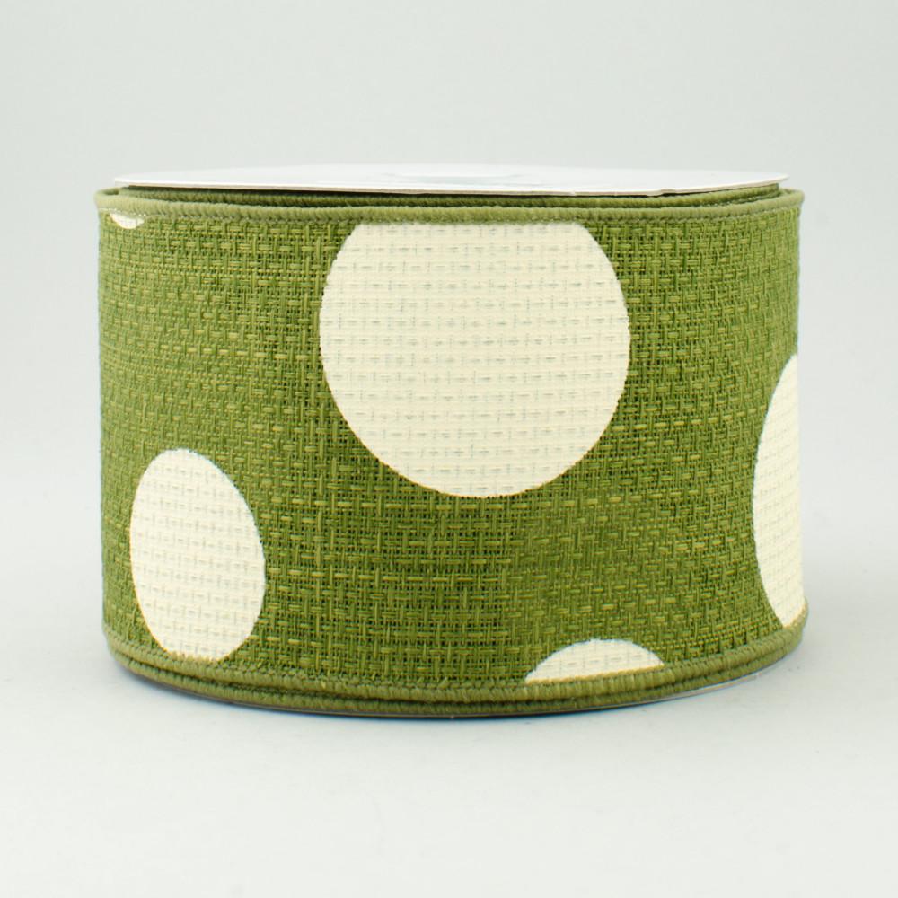 2 5 faux burlap giant polka dot ribbon moss green for Green burlap ribbon