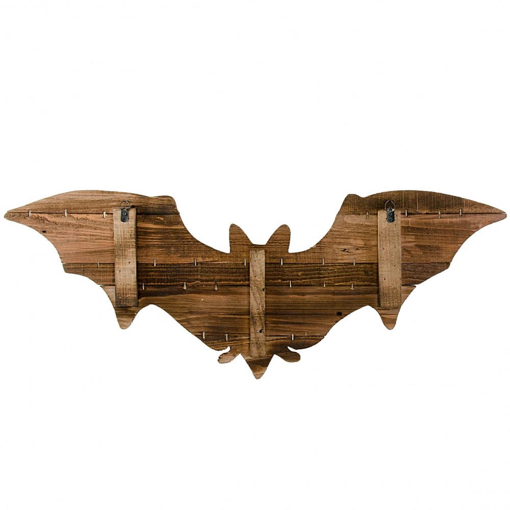 28 Distressed Wooden Bat Decoration Black