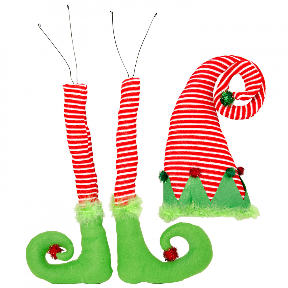 plush 3 piece christmas elf decorating kit red lime green - Animated Christmas Elves Decorations