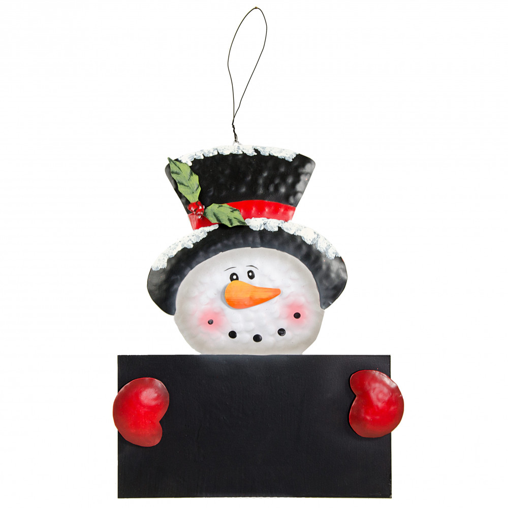 16 Quot Metal Snowman Chalkboard Sign 82748rwb Craftoutlet Com