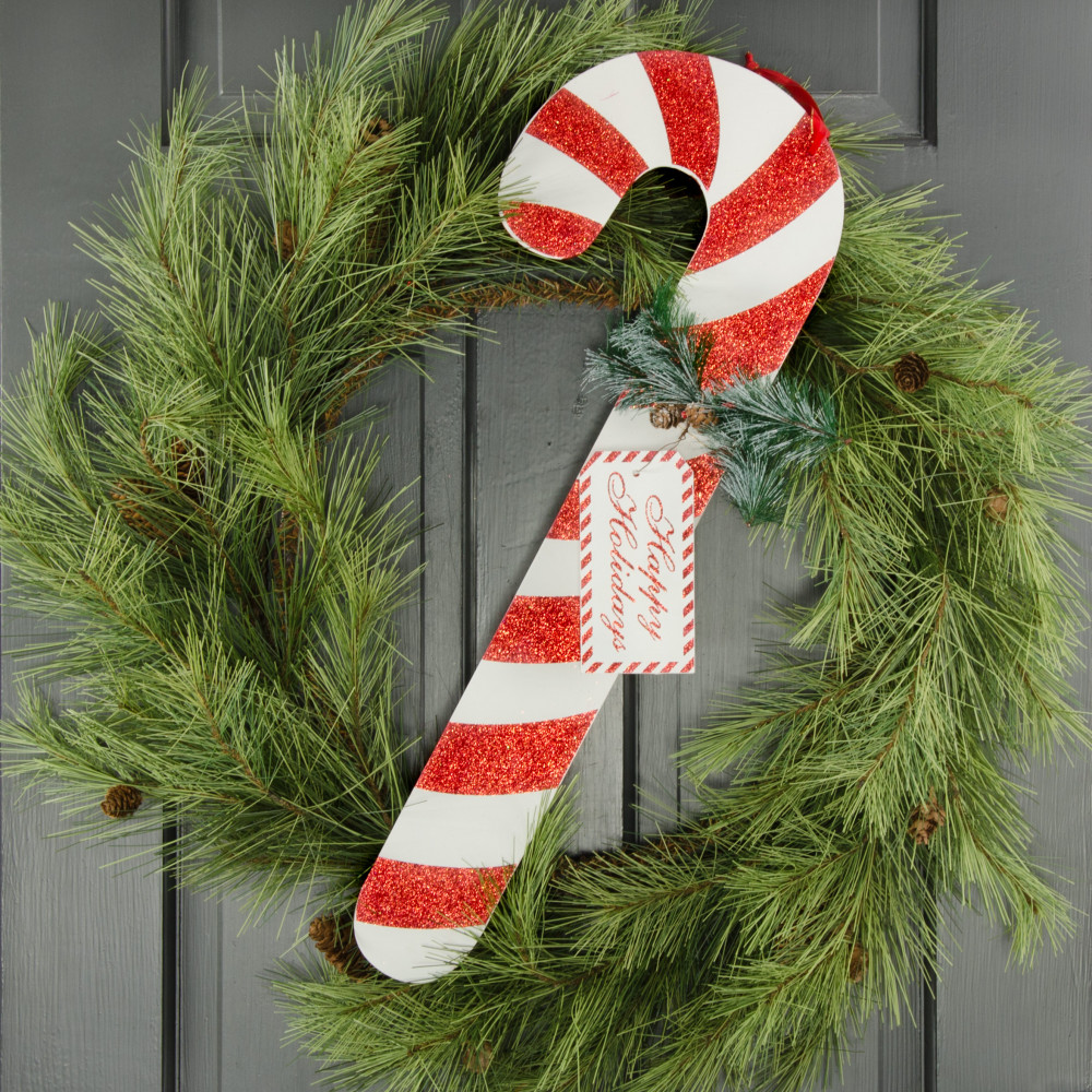 23 wooden candy cane decoration red white - Christmas Candy Cane Decorations