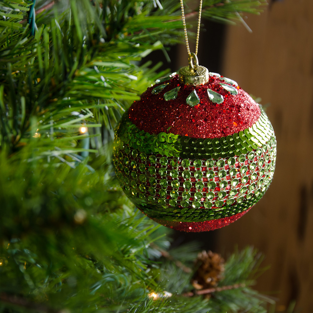 100mm Round Ball Ornaments Set Of 4 Red Lime Green Glitter Stripe