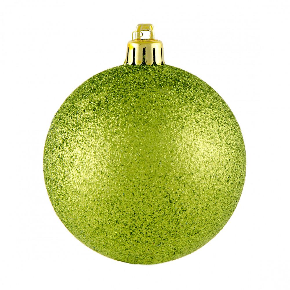 80mm Round Glitter Ball Ornament Metallic Lime Green Xy203369