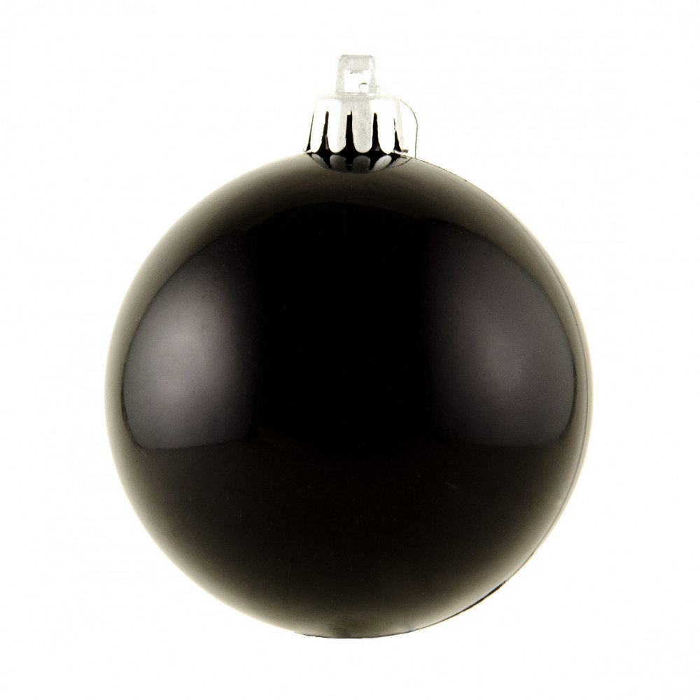 Black Christmas Ornaments.80mm Round Smooth Metallic Ball Ornament Shiny Black