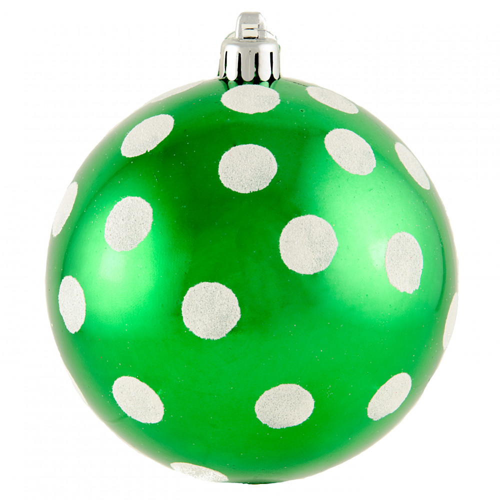 Polka dot christmas ornaments - 100mm Polka Dot Polka Dot Ornament Shiny Emerald Green White