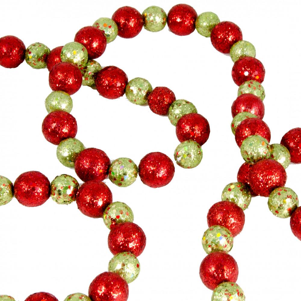 6 glitter ball garland red green