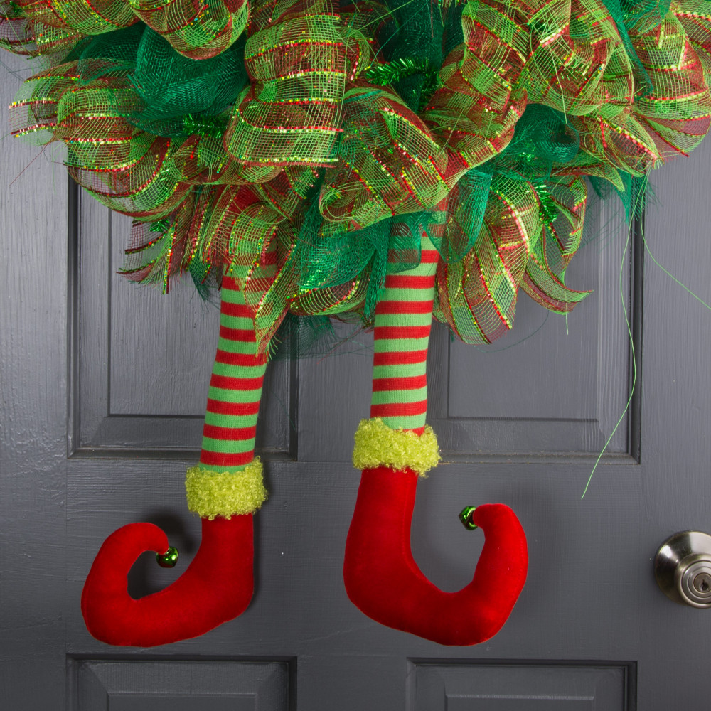 18 striped christmas elf leg red lime green - Elf Legs Christmas Decoration