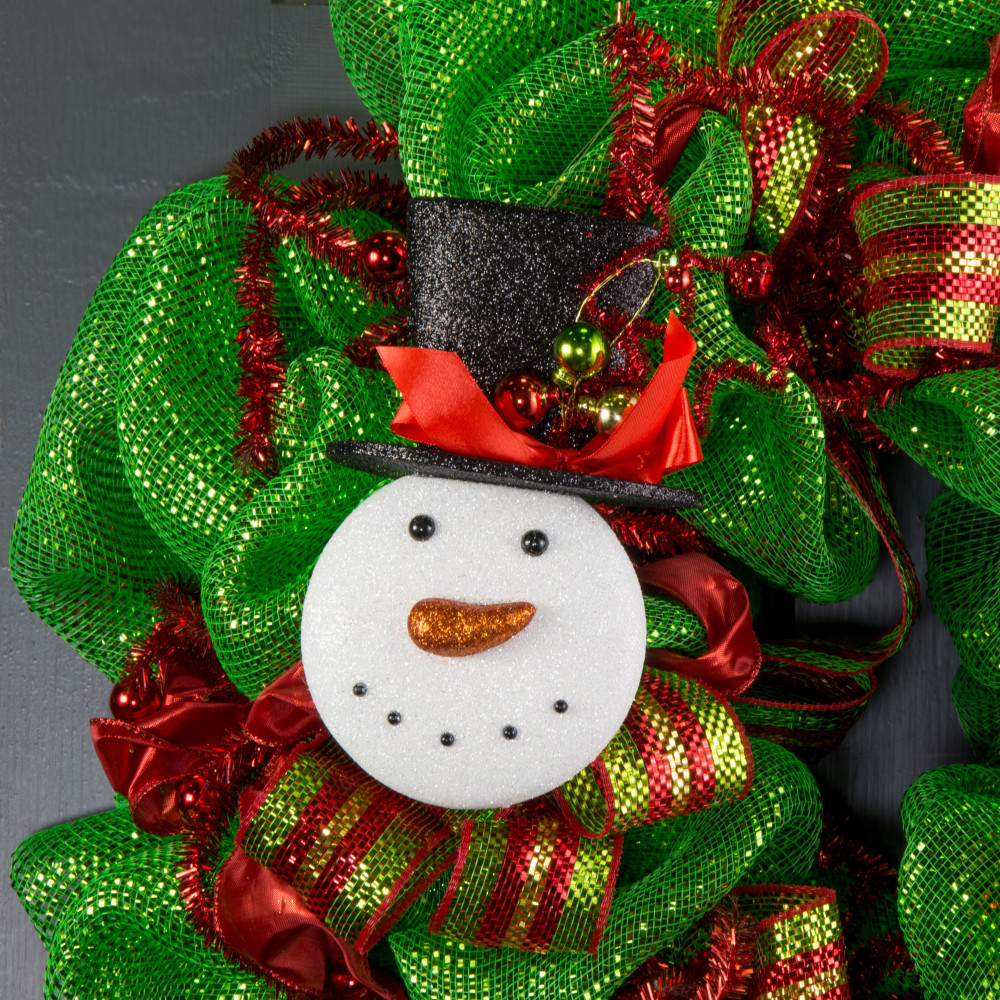 Snowman face ornament - 8 Glitter Snowman Face Ornament