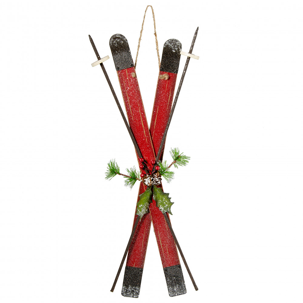 17 Holiday Wooden Skis Poles Decoration Antique Red
