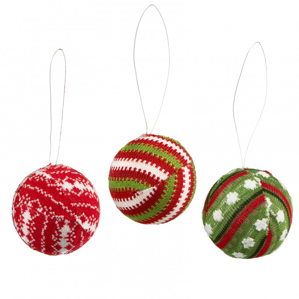 4 knit christmas ball ornament set of 3 assorted red white green