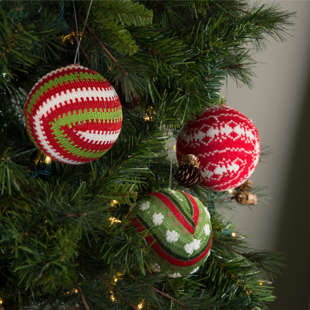 Knitted Christmas Decorations To Buy : Quot knit christmas ball ornament set of assorted red