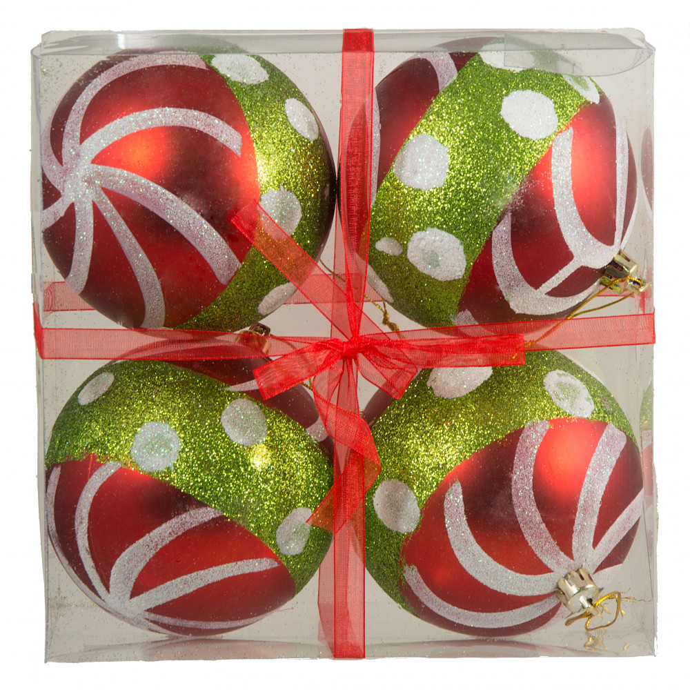 100mm Christmas Stripe Dot Ornament Set Of 4 Lime Green Red