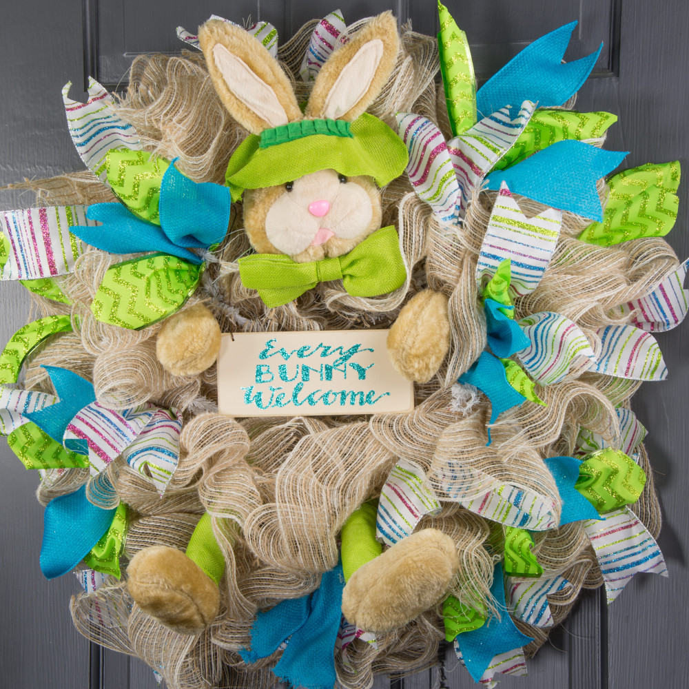Plush bunny wreath accent lime green he