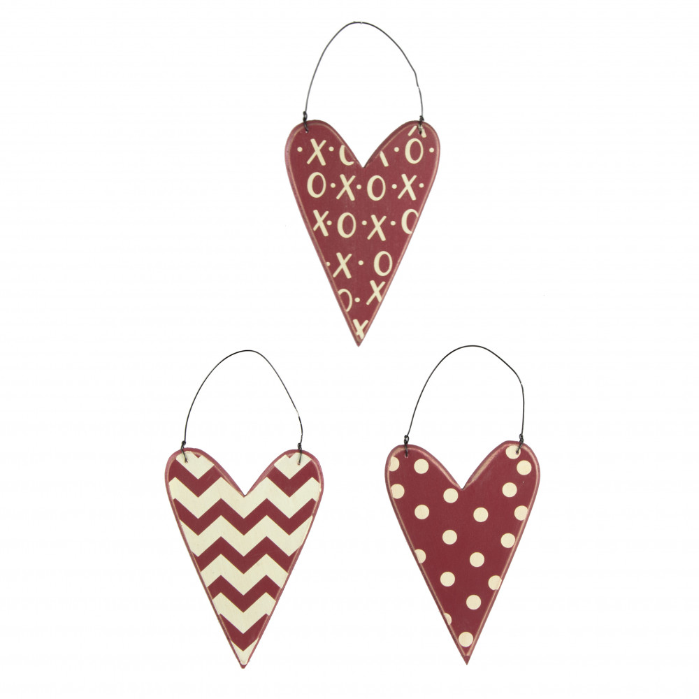 Red white wooden heart ornaments set of
