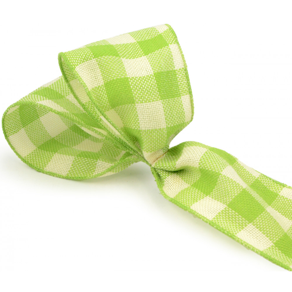 4 faux burlap lime green gingham check ribbon 25 yards for Green burlap ribbon