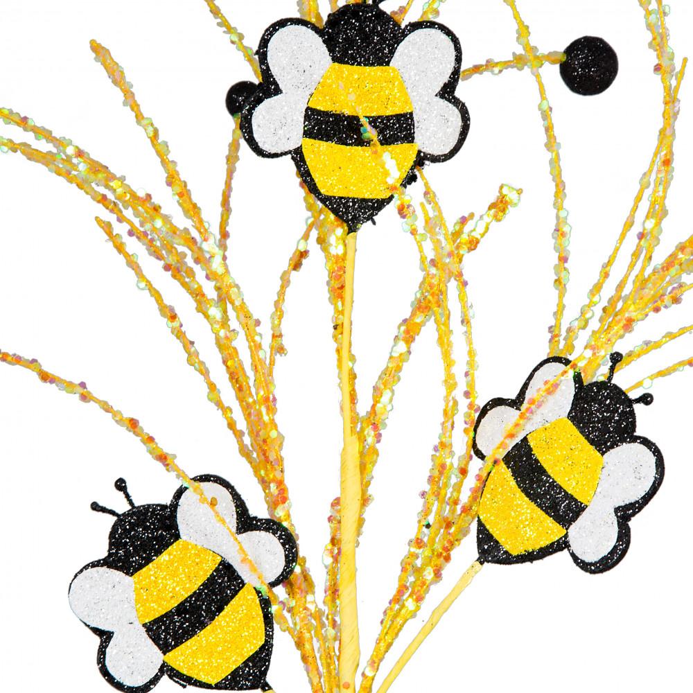 28 Glitter Bumble Bee Ball Spray Yellow Black White