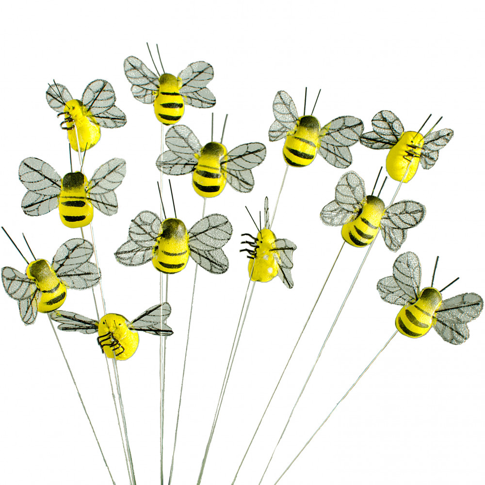 1 5 Quot Yellow Bumble Bee On Wire Set Of 24 Mb0544