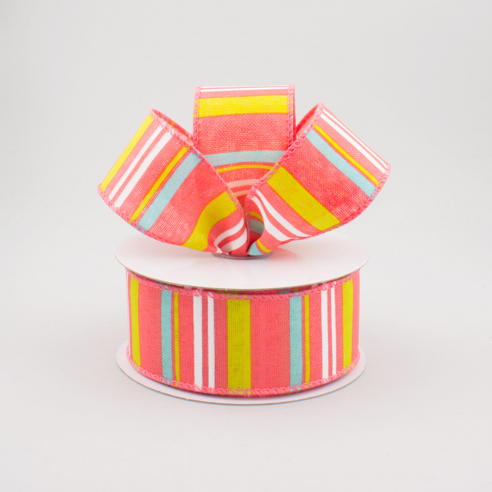 "1.5"" Multi-Colored Horizontal Stripe Ribbon: Coral (10"