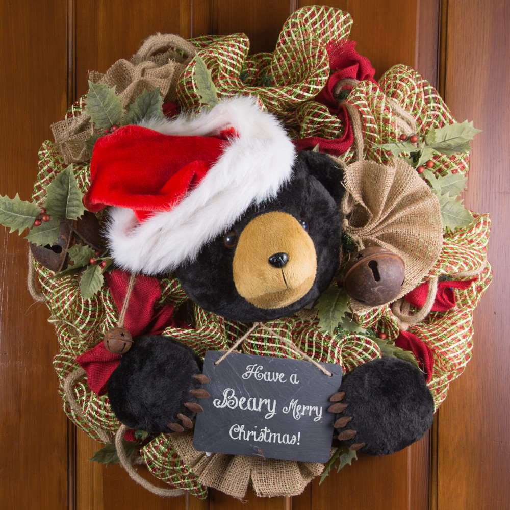 Plush Black Bear Wreath Decorating Kit (3 pieces)